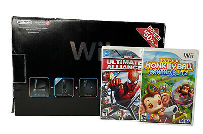 $ CDN150.34 • Buy Nintendo Wii Black Wii Remote Plus Bundle Console + Controllers + 2 Games