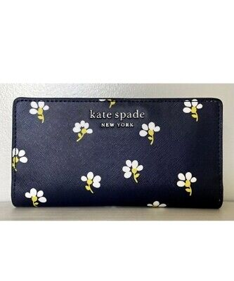 $ CDN50.42 • Buy New Kate Spade Cameron Large Slim Bifold Leather Wallet Daisy Toss Nightcap