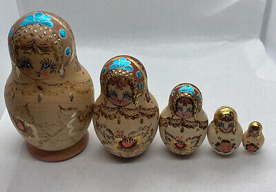 Vintage Hand Painted Pyrography Wooden Nesting Dolls • 10£