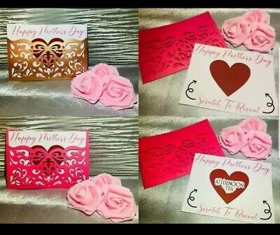 £4 • Buy Personalised Bespoke MOTHERS DAY Scratch Card And Open Envelope Handmade