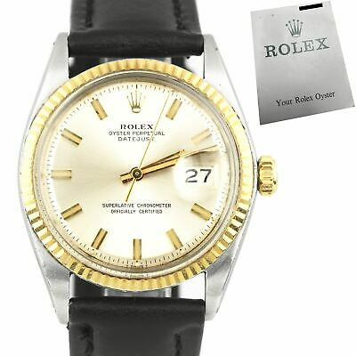 $ CDN7035.49 • Buy Rolex DateJust 36mm 1601 Two-Tone Gold Stainless Wide-Boy Leather Watch 1601