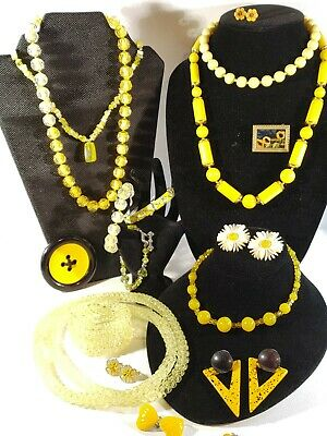 $ CDN12.62 • Buy Vintage Jewelry Lot~ Yellow Necklaces Bracelets Earrings Brooches