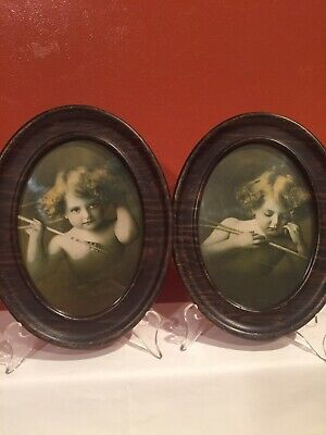 $24 • Buy Cupid Awake Cupid Asleep M B Parkinson Double Oval Pictures Metal Frame Antique