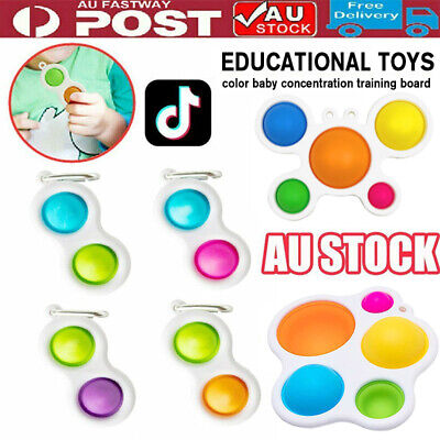AU7.99 • Buy Baby Simple Dimple Sensory Fidget Toy Silicone Flipping Board 3+ Kids Adult Gift