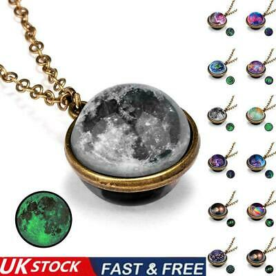 £4.59 • Buy Luminous Solar System Planet Galaxy Double Side Glass Astronomy Necklace UK