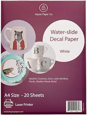 £21.31 • Buy Hayes Paper Co. LASER WHITE WaterSlide Decal Paper, 20 Sheets, Size A4