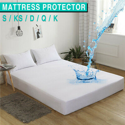 AU19.99 • Buy Fully Fitted Waterproof Mattress Protector Cover Terry Cotton Soft Bedding Sheet