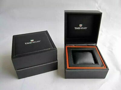 $ CDN338.95 • Buy TAG HEUER WATCH BOX Genuine Leather Jewelry Original Case Black & Orange RARE ♕♕