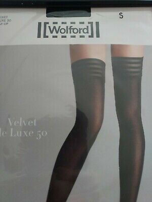 Wolford Velvet De Luxe 50, Stay-up Stockings, Black, Small, Black • 6.90£