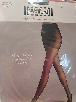 Wolford Miss W30 LEG SUPPORT TIGHTS, SHAPE AND CONTROL, SMALL, BLACK, 7005 • 3.50£