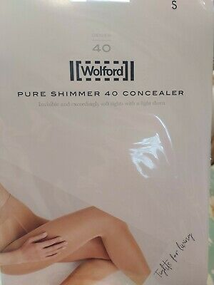 Wolford Pure SHIMMER 40 CONCEALER TIGHTS, Cosmetic, Size Small • 5.10£