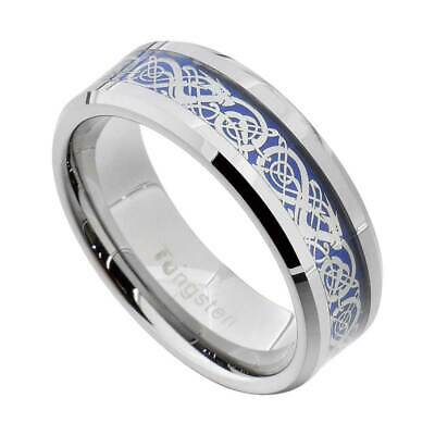 $11.04 • Buy Tungsten Silvering Celtic Dragon Tungsten Carbide Ring Mens Jewelry Wedding Band