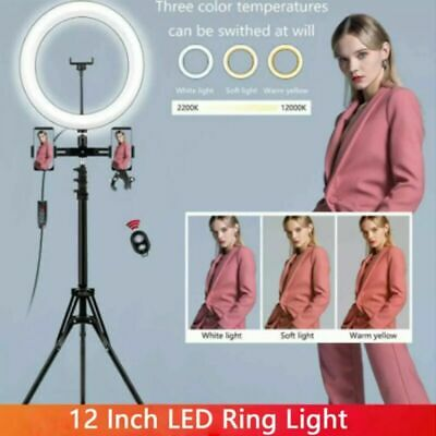 AU25.99 • Buy 12  Dimmable LED Ring Light With Tripod Stand Selfie Make Up Video Lamp Lighting