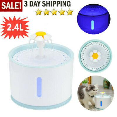 2.4L USB LED Automatic Electric Pet Water Fountain Cat/Dog Drinking Dispenser UK • 7.18£