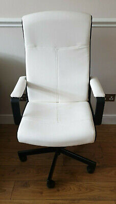 Ikea MILLBERGET Swivel Desk Chair White Faux Leather *** EXCELLENT CONDITION *** • 50£