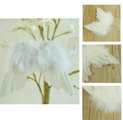 5PCS White Vintage Feather Hanging Angel Wings Christmas Tree Wedding Decoration • 5.69£