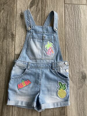 Girls Denim Dungaree Shorts Age 8 Fits Age 7-8 Years • 1.60£