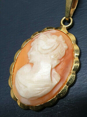 £17 • Buy Rolled Gold Cameo Pendant Necklace - RG A*D Amerikaner Gold & Chain