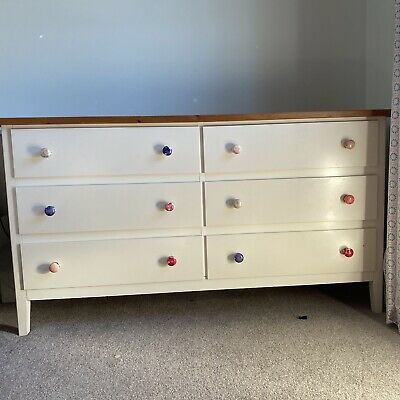 VISDALEN IKEA White Chest Of Drawers Solid Wood Top • 30£