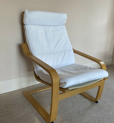 Ikea Poang Chair With Cream Cotton Cover • 15£