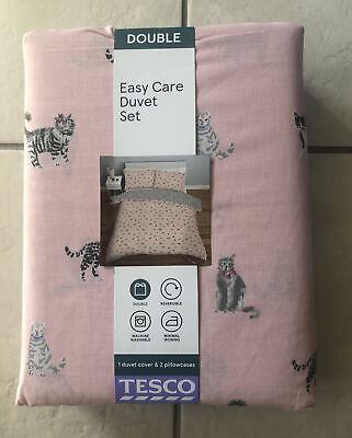 Easy Care Double Duvet Set With 2 Pillowcases - Reversible 200x 200cm Pink Cats • 14.99£