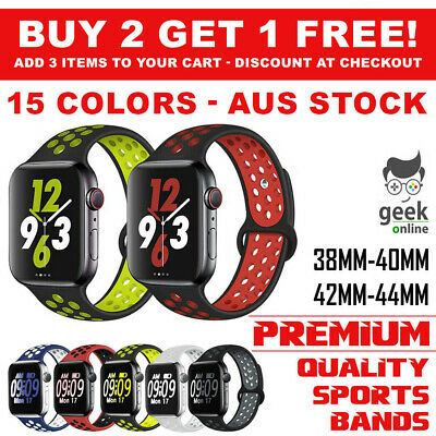 AU7.85 • Buy Sport Silicone Strap IWatch Band For Apple Watch Series 6 5 4 321 SE 40 44 42 38