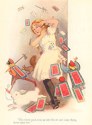 Alice Wonderland Attacked Card Deck C1930 Margaret Tarrant Vintage Matted Print • 13.39£