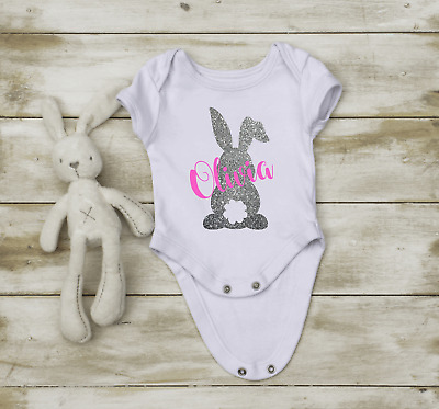 Personalised Bunny Bodysuit Outfit Top Baby Boy Girl Blue Pink Gift Easter Bunn • 6.99£