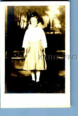 $6.98 • Buy Real Photo Rppc M+1952 Girl In Dress Not Smiling In Faux Background