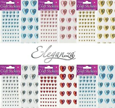 Stickers Craft Crystal Self Adhesive Hearts Sparkly Gem Card Making Invitations • 1.95£