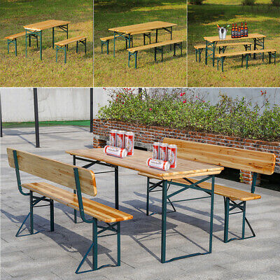 Beer Table & Bench Set Outdoor Wooden Folding Trestle Garden Furniture Iron Legs • 119.95£