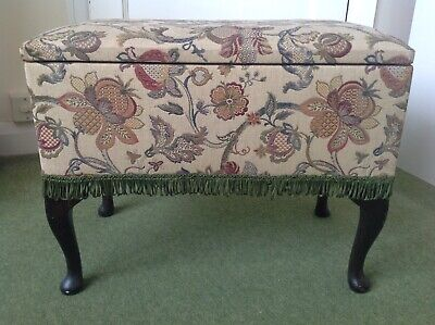 £45 • Buy Vintage Foot Stool Storage Box, For Sewing Or Knitting Storage
