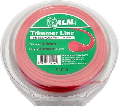 £8.49 • Buy ALM 3mm X 29m Red Trimmer Strimmer Line Wire Cord For Heavy Duty Petrol Trimmers