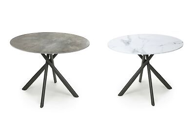 £252.95 • Buy Shankar Avesta Round Marble Effect Glass Top Dining Table - White Or Grey
