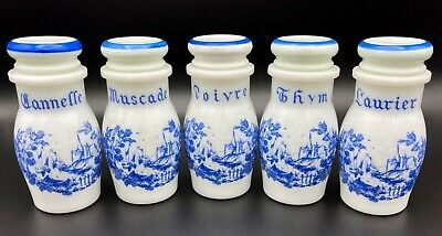 $24.50 • Buy Vintage Milk Glass Blue And White Spice Jars Set Of 5 With French Labels
