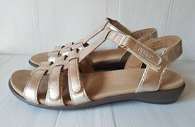 Ladies Size 9 EU 43 HOTTER  SOL  COMFORT CONCEPT Gold Leather Low Wedge Sandals  • 16.99£
