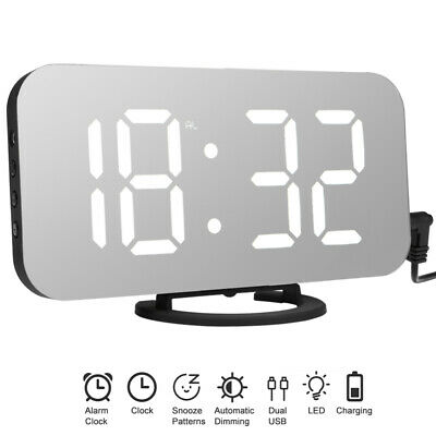 AU22.89 • Buy Digital Clock Mirror LED Alarm Clock Thermometer Snooze Dual USB Phone Charger