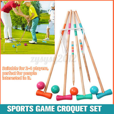 £16.66 • Buy UK Croquet Set Poll Ball Door Portable Wooden Sports Game Adults Kids 4 Players