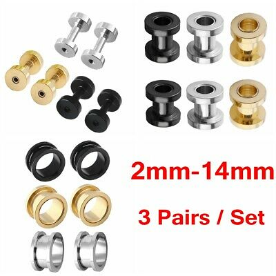 £6.87 • Buy 3 Pair Stainless Steel Ear Stretcher Ear Stretching Expander Tunnel Set 2mm-14mm