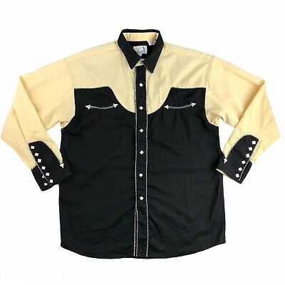 $74.99 • Buy Panhandle Slim Retro Western Wear Diamond Pearl Snap Embroidered Shirt Size L