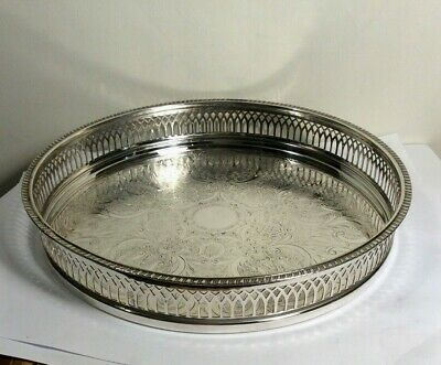 £26.99 • Buy Vintage Galleried Tray Silver Plated Circular Chased Work Cavalier 9.5  Diameter