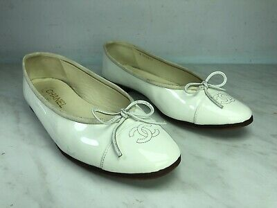 £230.10 • Buy CHANEL Ballerina Flat Shoes White Patent Leather Size EU39.5 - US 9