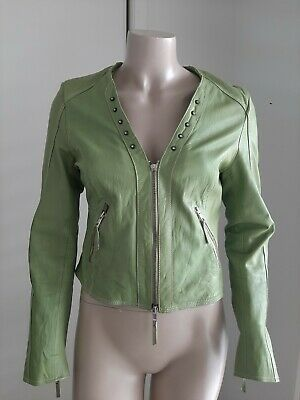 AU50 • Buy Sao Paulo Womens Vintage Green Cropped Leather Jacket Size 36