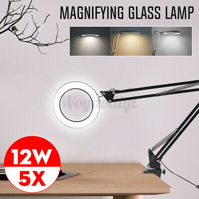 £15.99 • Buy LED Desk Lamp 5X Magnifier Glass Light Stand Clamp Foldable Beauty Magnifying UK