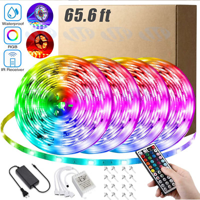 $11.88 • Buy 66FT Flexible 3528 RGB LED Strip Light Remote Fairy Light Room Party Waterproof