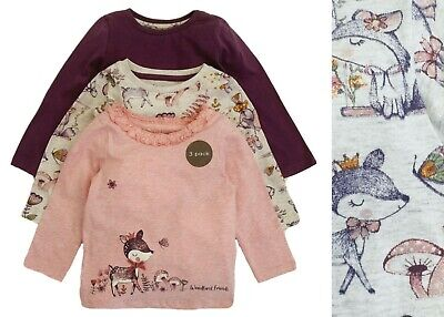 £6.95 • Buy Nutmeg Girls Baby Tops 3 Pack Pink Cotton Long Sleeve Cute Animals Multipack NEW