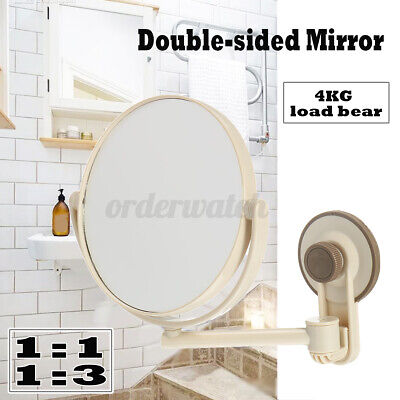 £8.39 • Buy  Double Sided 360° Suction Cup Wall Mounted Round Mirror MakeUp Shaving Bathroom