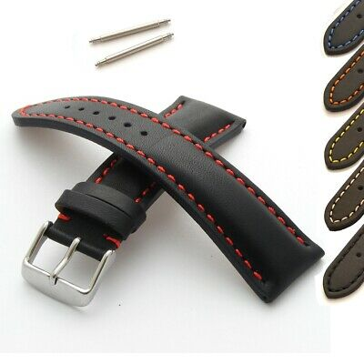 £14.95 • Buy Sion Watch Strap Genuine Leather Heavy Padded Stitched With Spring Bars