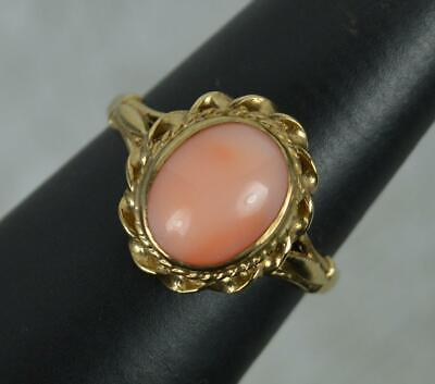 £225 • Buy Vintage Large Coral And 9 Carat Gold Solitaire Ring