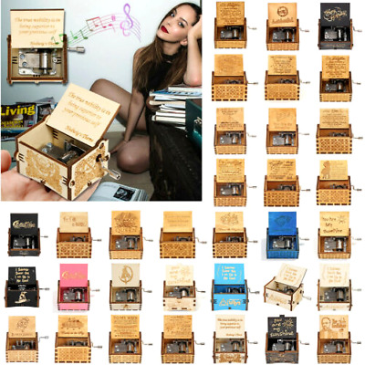 $ CDN13.12 • Buy Cranked Music Box Engraved Wooden Music Box Hand Carved Toys Xmas Kids Gift